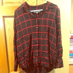 Window pane button up blouse